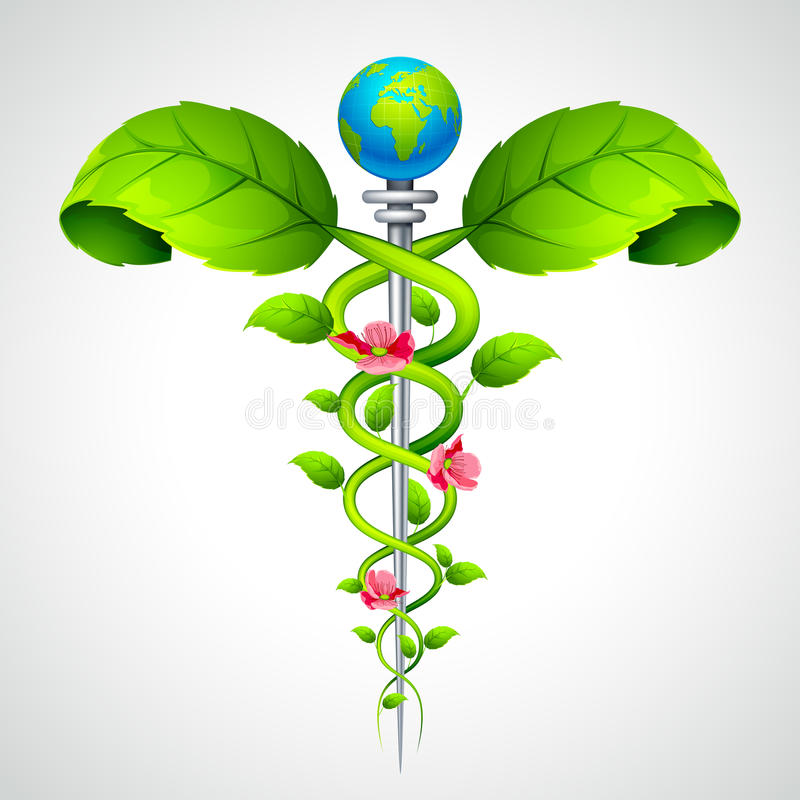 Caduceus sign with Leaf and Flowers stock illustration
