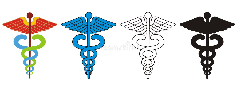 Caduceus - simbolo medico illustrazione di stock