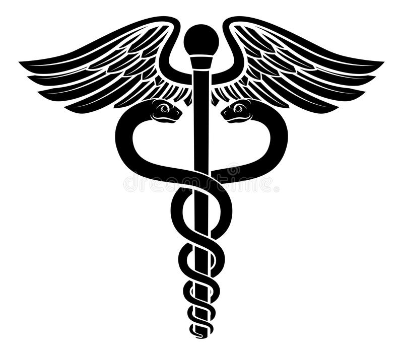 Caduceus Symbol. Of two snakes intertwined around a winged rod. Associated with healing and medicine royalty free illustration