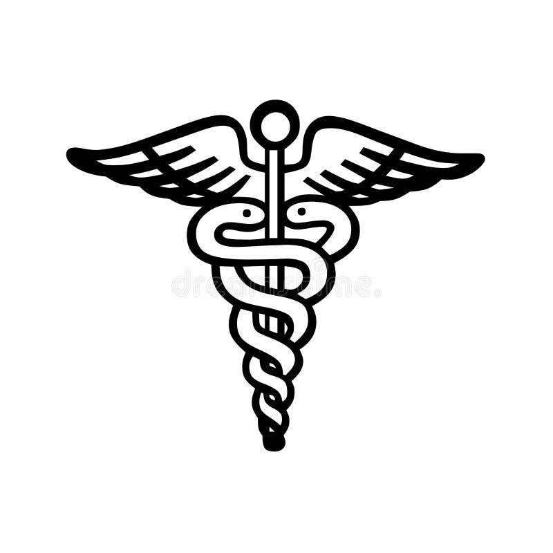caduceusclippingen innehåller medicinskt banasymbol för digital illustration stock illustrationer