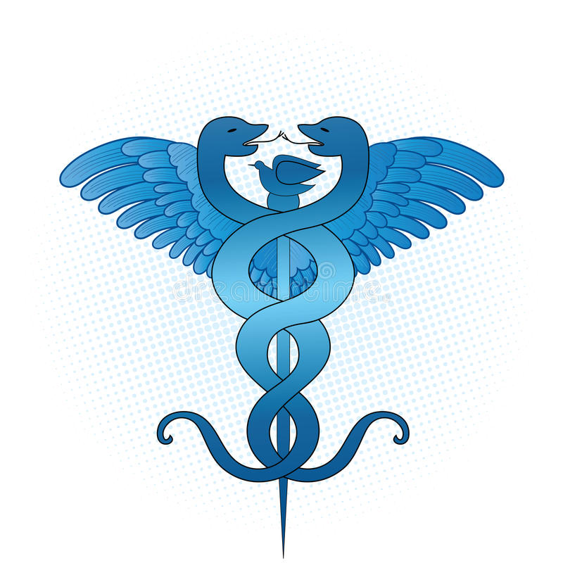 caduceusläkarundersökning stock illustrationer