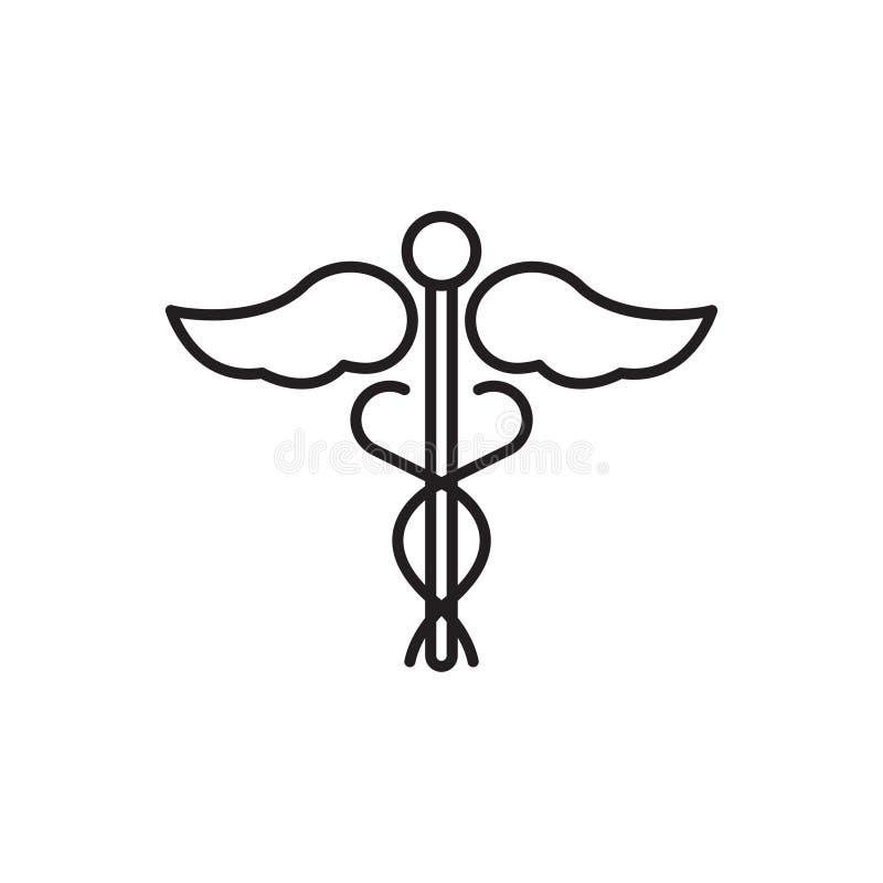 Caduceuslinje symbol, medicinskt vektortecken eller logo royaltyfri illustrationer