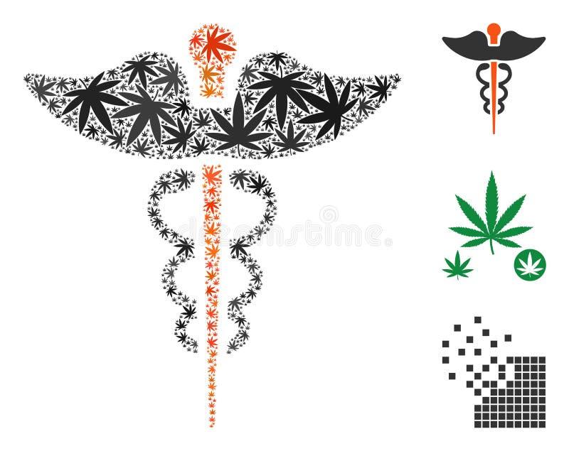 Caduceusmosaik av cannabis royaltyfri illustrationer