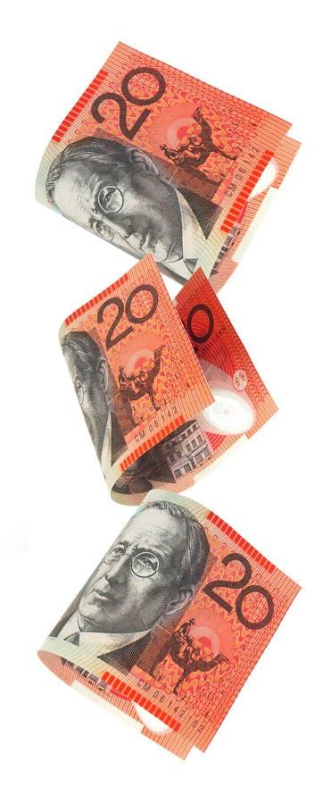 Caduta australiana dei soldi fotografia stock