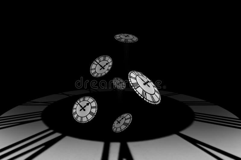 Caduta da un timewell, passaggio di Clockfaces di tempo. illustrazione di stock