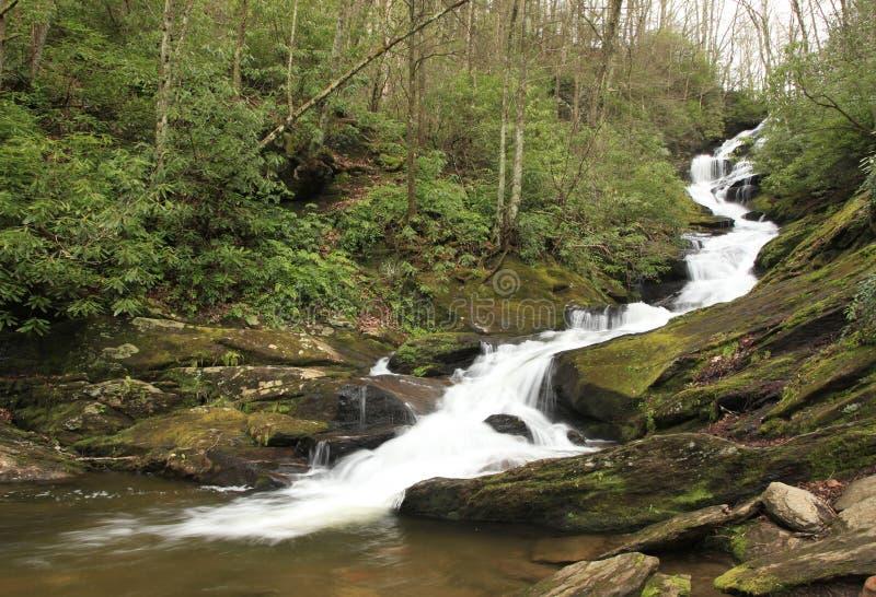 Caduta dell'acqua che rugge attraverso la cascata muscosa della roccia immagini stock libere da diritti
