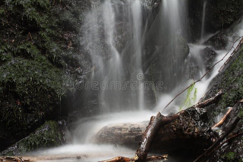 Caduta dell'acqua più sulle rocce del muschio fotografia stock