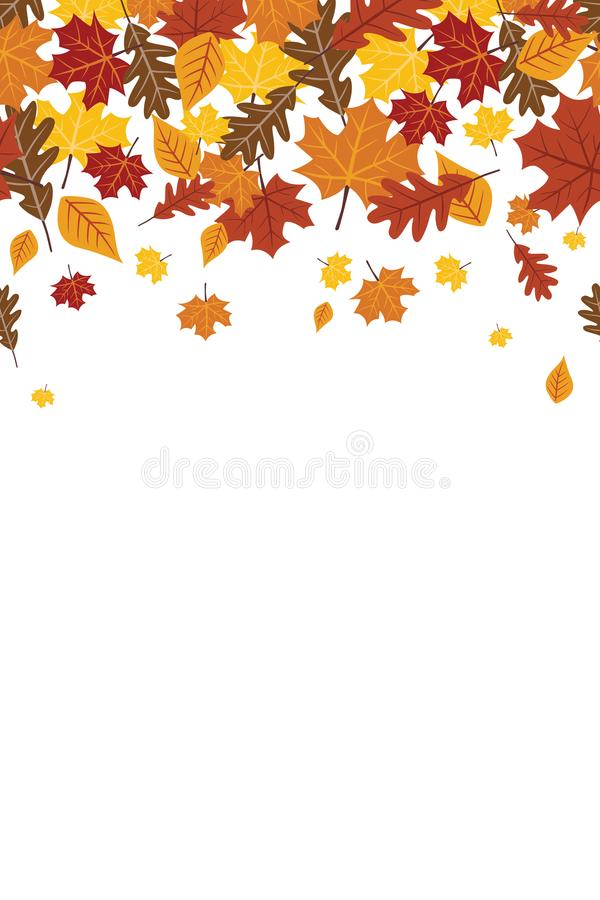 Caduta di caduta luminosa Autumn Leaves Repeating Vertical Border 1 royalty illustrazione gratis