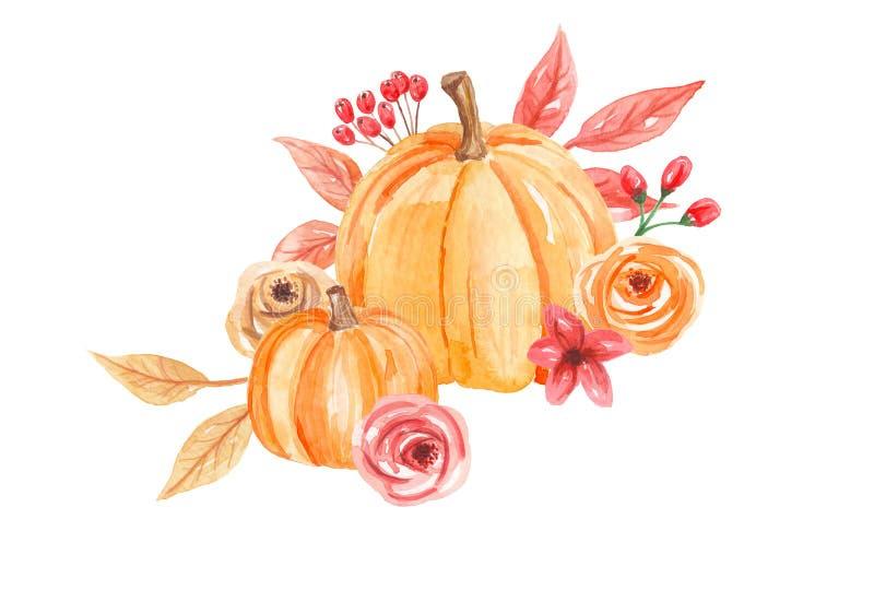 Caduta dipinta a mano Autumn Wreath dei fiori delle zucche dell'acquerello royalty illustrazione gratis