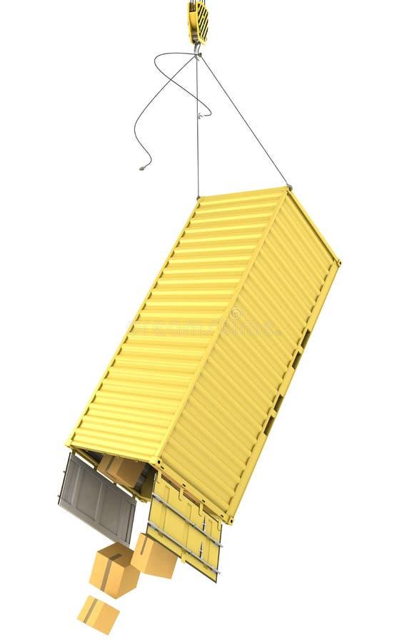 Caduta gialla del contenitore illustrazione di stock