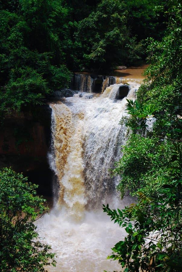 Caduta rapida dell'acqua nella prima stagione delle pioggie fotografia stock libera da diritti