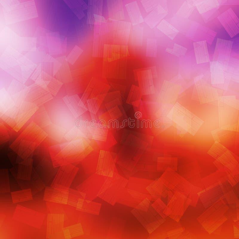 Caduta rettangolare di forme di colori caldi astratti del fondo illustrazione di stock