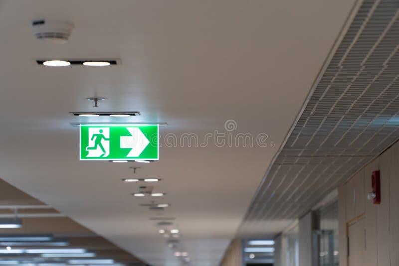 Caduta verde del segno dell'uscita di sicurezza sul soffitto nell'ufficio immagini stock libere da diritti