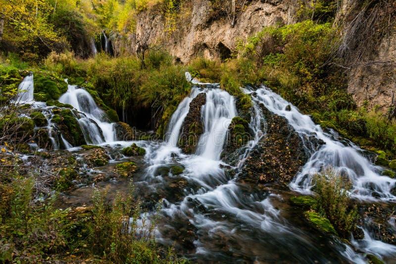 Cadute di Roughlock, una cascata del Sud Dakota immagini stock libere da diritti