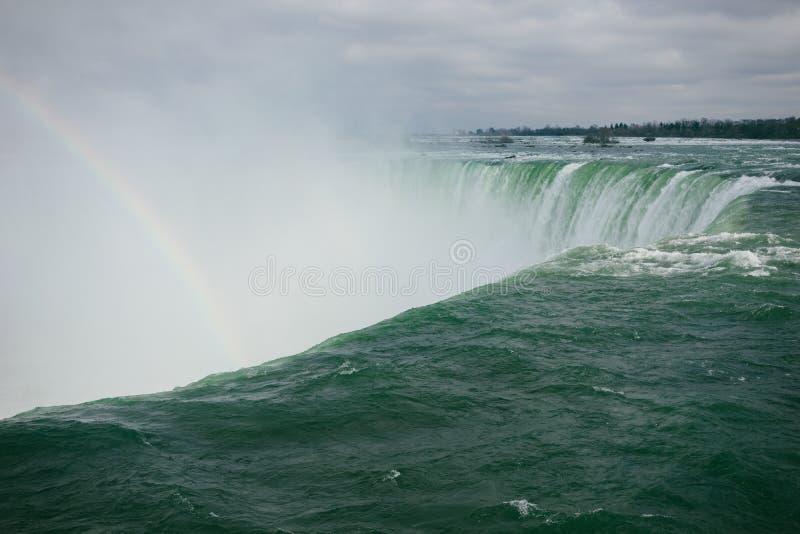 Cadute a ferro di cavallo con un arcobaleno, Niagara, Ontario fotografia stock libera da diritti