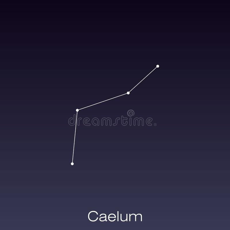 Constellation as it can be seen by the naked eye. Caelum constellation as it can be seen by the naked eye stock illustration
