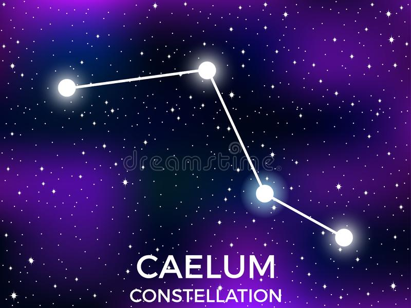 Caelum constellation. Starry night sky. Cluster of stars and galaxies. Deep space. Vector. Illustration stock illustration