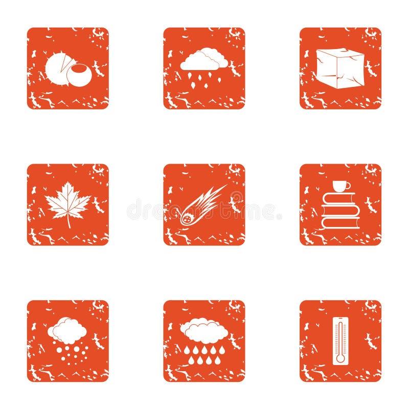 Caen abajo los iconos fijados, estilo del grunge stock de ilustración
