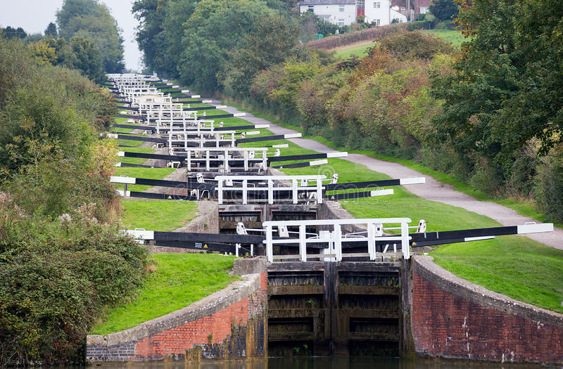 Caen Locks Devizes England. Caen Locks are a flight of 29 locks located on the Kennet and Avon canal near Devizes completed in 1810 stock photos