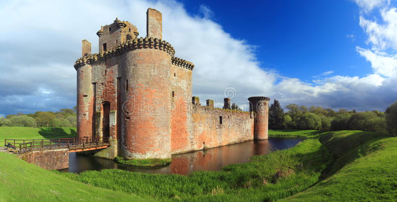 Dramatic Evening Sun on the Ruins of Caerlaverock Castle, Dumfries and Galloway, Scotland royalty free stock photos