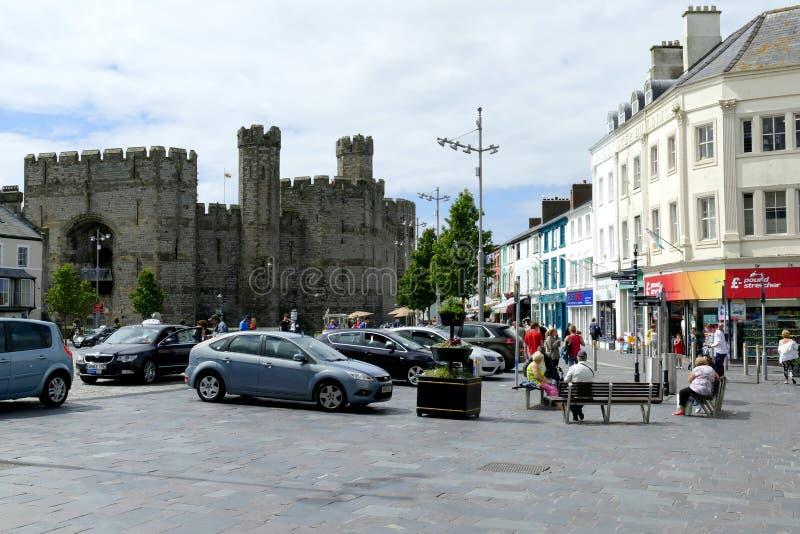 Caernarfon, Noord-Wales, het UK stock fotografie