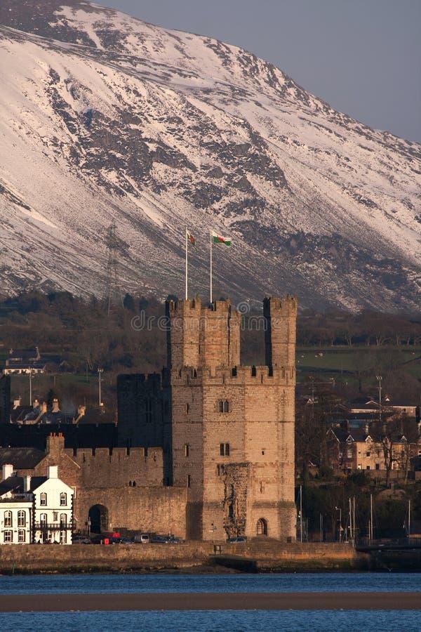 Caernarfon Schloss und Stadtwände lizenzfreies stockfoto
