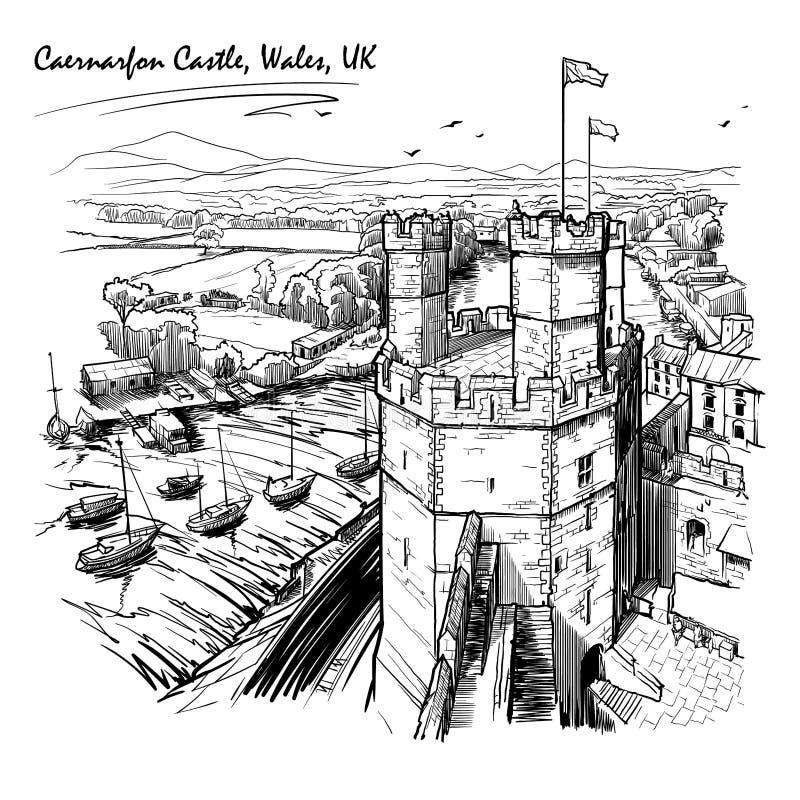 Caernarfon slott, norr Wales, UK, med en storartad panorama av Snowdonia bakom royaltyfri illustrationer