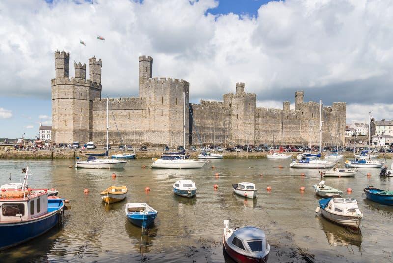 Caernarfon slott Wales royaltyfri bild