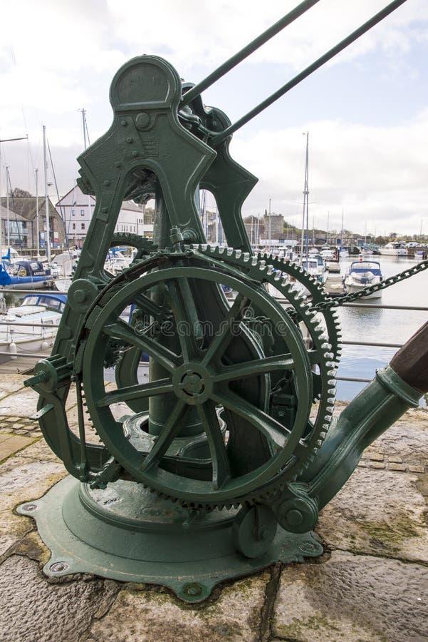 Caernarfon - Victoria Dock, alter dockside Kran stockfoto