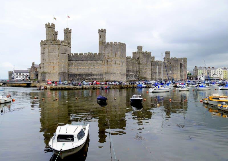 Caernarfonkasteel, Wales stock afbeelding