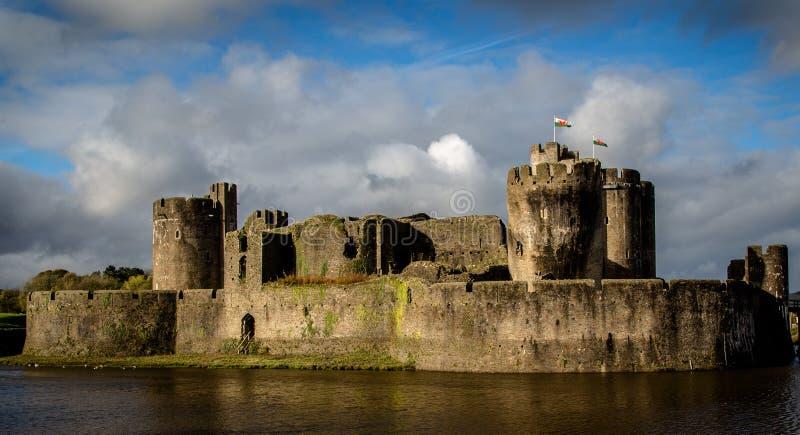 Caerphilly城堡在南威尔士 免版税库存照片
