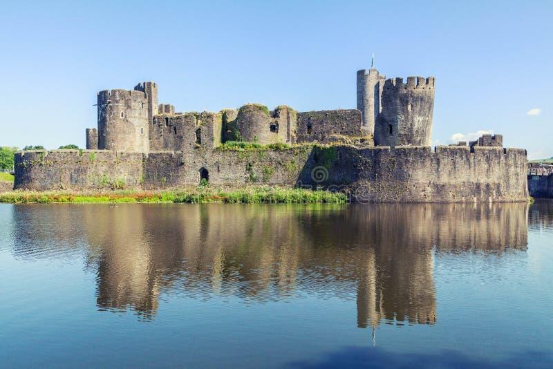 Caerphilly Castle, Ουαλία στοκ εικόνα με δικαίωμα ελεύθερης χρήσης