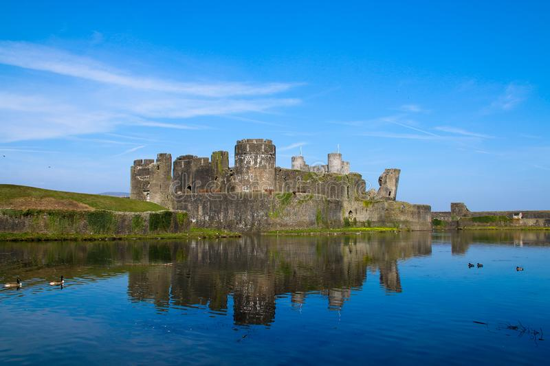 Caerphilly Castle, South Wales, UK stock photo