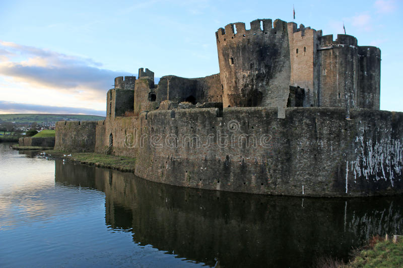 Caerphilly Castle, Wales. Caerphilly castle reflected in the lake royalty free stock photos