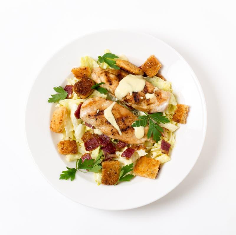 Caesar σαλάτα κοτόπουλου άνωθεν στοκ εικόνες με δικαίωμα ελεύθερης χρήσης