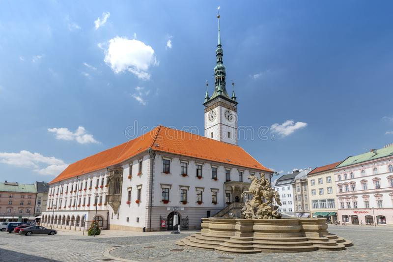 Caesar Fountain and Town Hall in Olomouc, Moravia Czech Republic.  stock photo