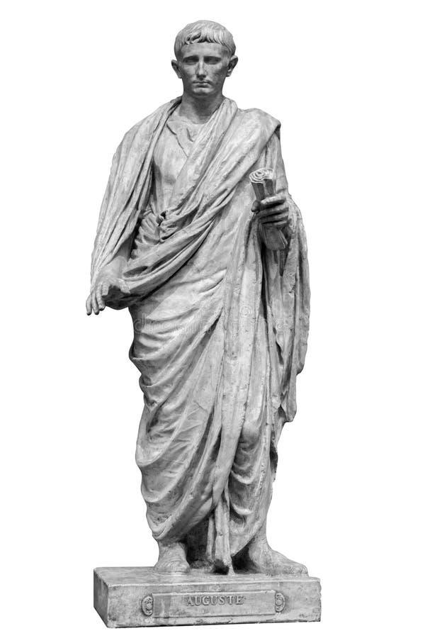 Caesar Octavianus Augustus roman emperor adopted son of Julius Caesar. Isolated statue on white stock photos