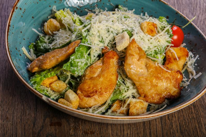 Caesar salad with chicken royalty free stock images