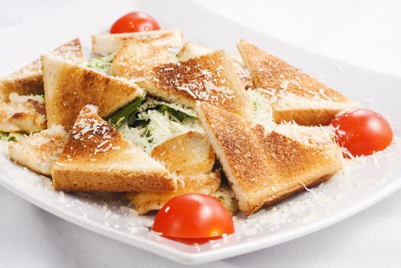 Caesar Salad con i pomodori ed i pani tostati freschi immagine stock libera da diritti