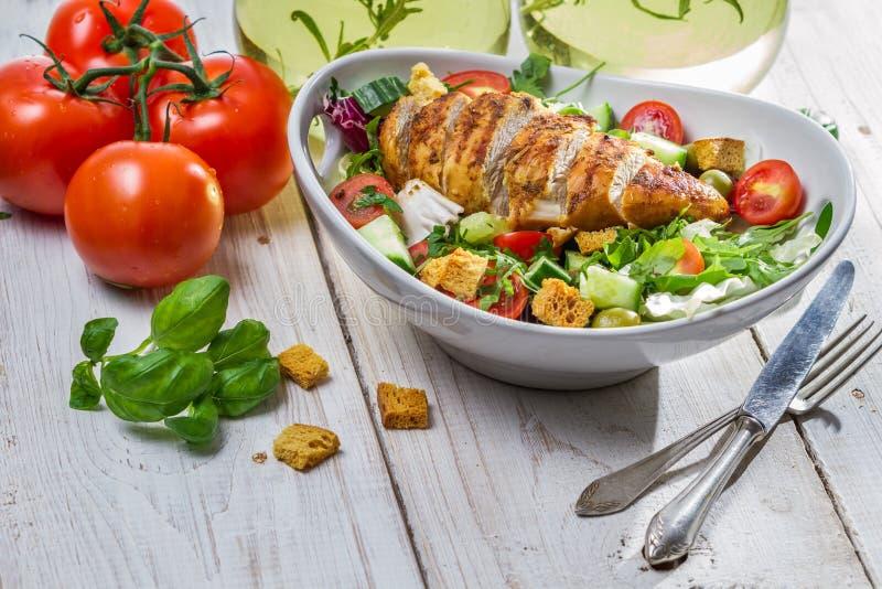 Caesar salad and fresh ingredients royalty free stock photo