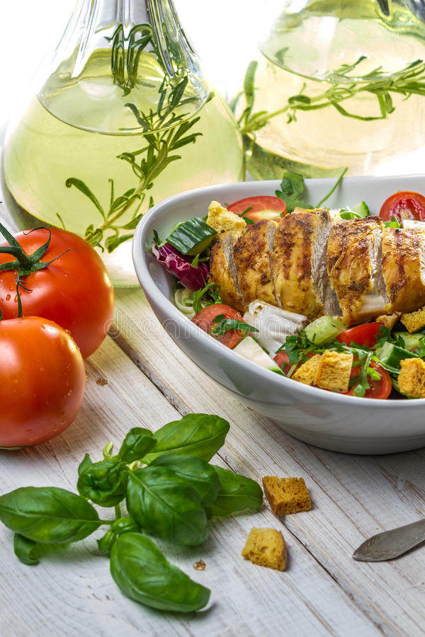 Caesar Salad and fresh ingredients royalty free stock photography