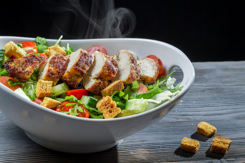 Caesar salad made with fresh ingredients royalty free stock image