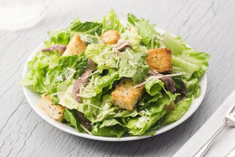 Caesar Salad med krutonger, parmesan och ansjovisar royaltyfri foto