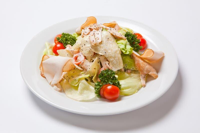 Caesar Salad met Kippenfilet en Kaas stock foto