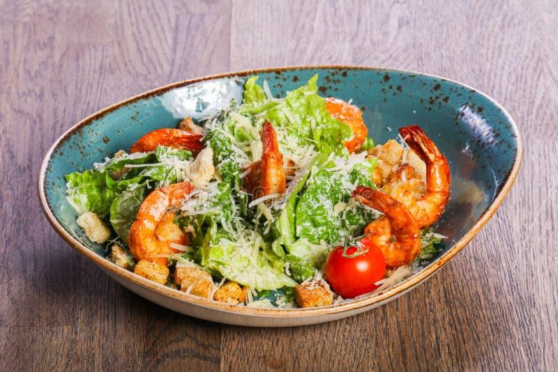 Caesar salad with shrimps stock photos