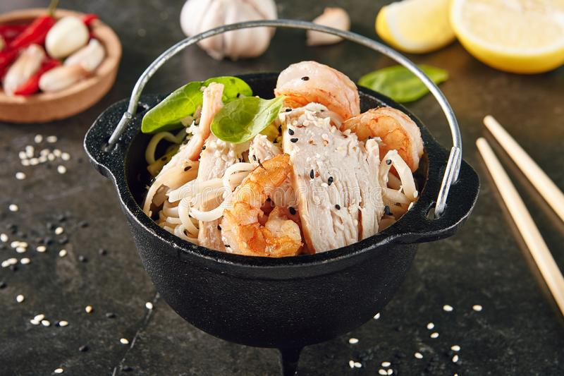 Caesar Salad with Shrimps and Chicken royalty free stock image