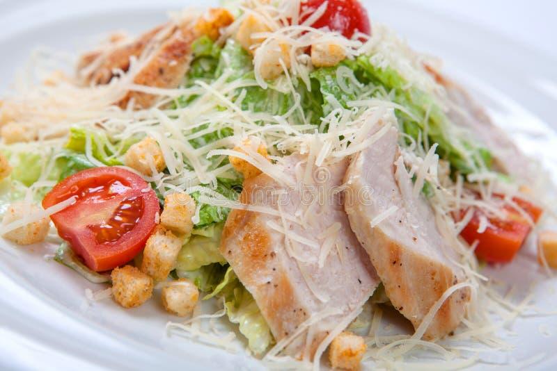 Caesar-Salat mit Huhn auf weißer Platte stockfotografie