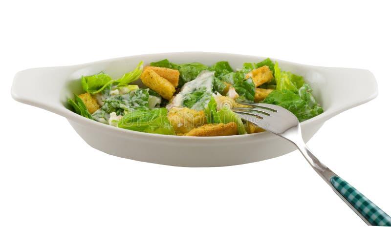 Caesar-Salat und Gabel stockfoto