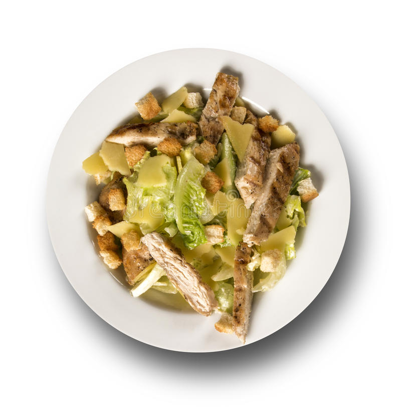 Caesar sallad med krutonger och grillad höna royaltyfri bild
