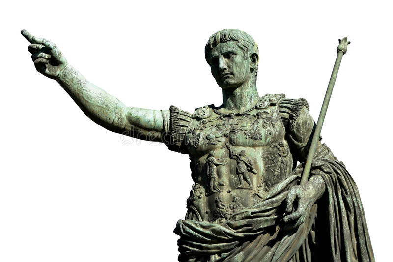 Caesara Augustus, the first emperor of Ancient Rome. Caesar Augustus, the first emperor of Ancient Rome. Bronze monumental statue in the center of Rome isolated royalty free stock images